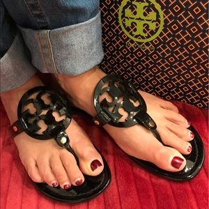 Black Patent Leather Miller Sandals by Tory Burch